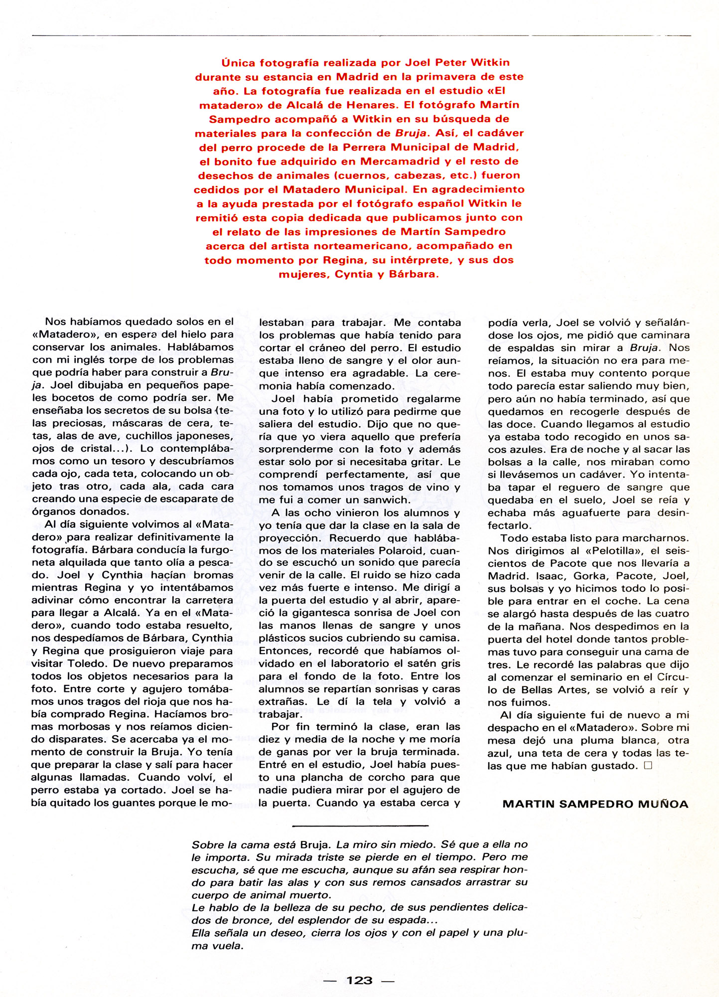 """Joel Peter Witkin """"Bruja"""". Madrid. 1988"""